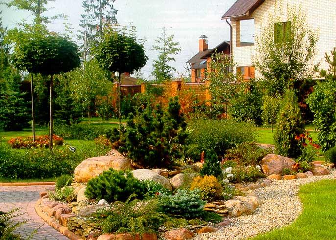 Ландшафтный дизайн клумбы газоны